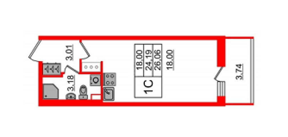 Продажа 1 к. квартиры ул. Генерала Кравченко, 3 корп. 1 - фото 1 из 5